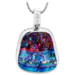 Australian 77.72ct Boulder Opal and Diamond Pendant 18K White Gold
