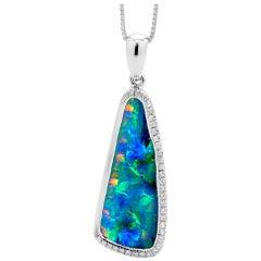 Opal Minded Australian Boulder Opal and Diamond Pendant in 18K White Gold