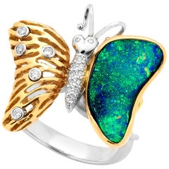 Australian 6.60ct Boulder Opal and Diamond Cocktail Ring 18K White, Rose Gold