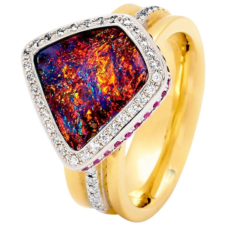 Opal Minded Australian Boulder Opal and Diamond Ring 18K White, Yellow Gold