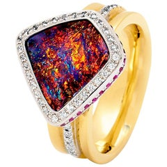 Australian Boulder Opal and Diamond Ring in 18 Karat White and Yellow Gold