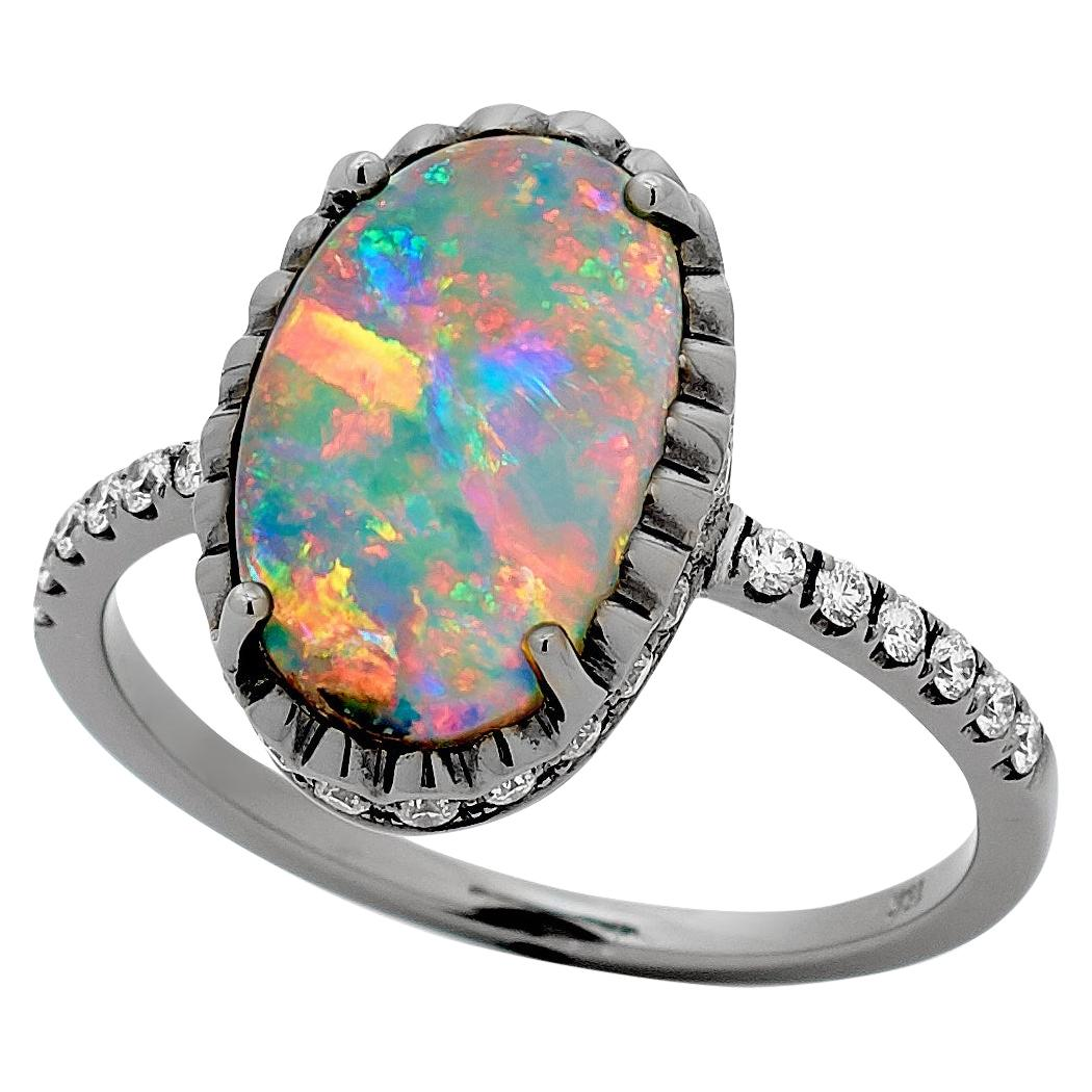 Opal Minded Australian Boulder Opal and Diamond Ring in 18K White, Yellow Gold