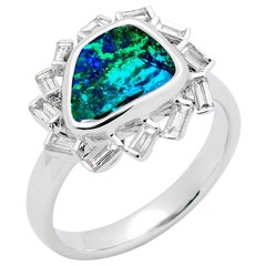 Australian Boulder Opal and Diamond Ring in 18 Karat White Gold
