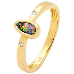 Australian Boulder Opal and Diamond Ring in 18 Karat Yellow Gold