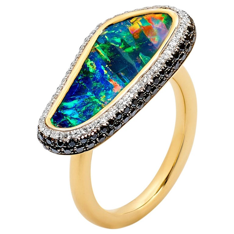 Australian Boulder Opal and Diamond Ring in 18 Karat Yellow Gold For Sale