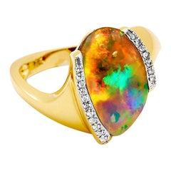 Australian 4.48ct Boulder Opal and Diamonds Cocktail Ring 18 Karat Yellow Gold