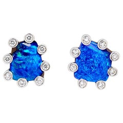 Australian 2.15ct Boulder Opal and Diamond Stud Earrings in 18K White Gold