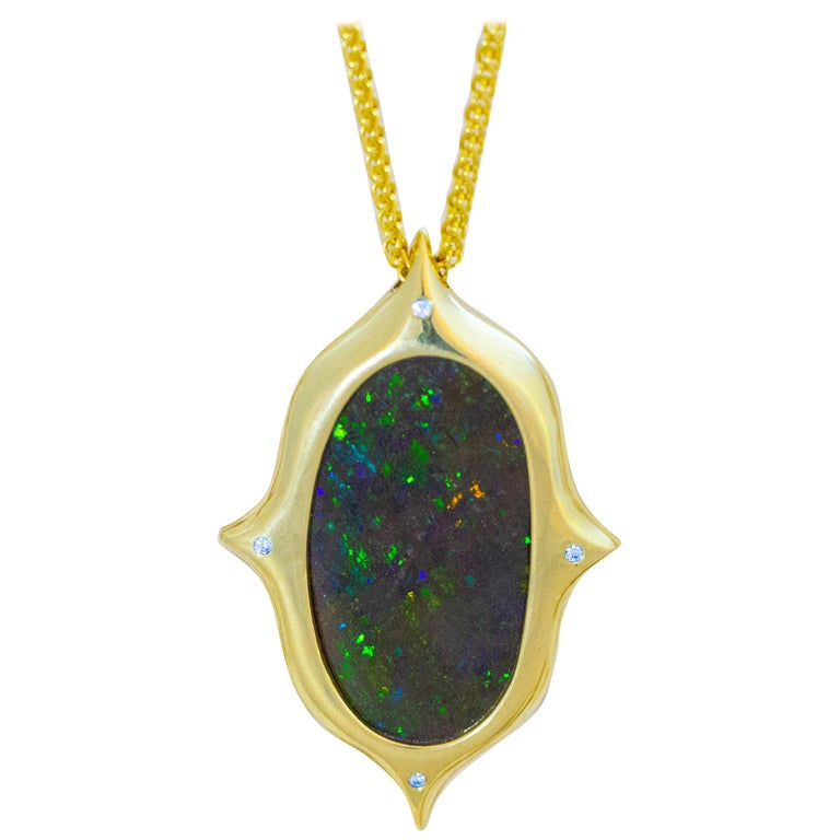 Australian Boulder Opal, Diamond and 18 Karat Gold Pendant Necklace For Sale