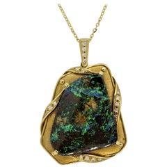 Australian Boulder-Opal Diamond Gold Pendant