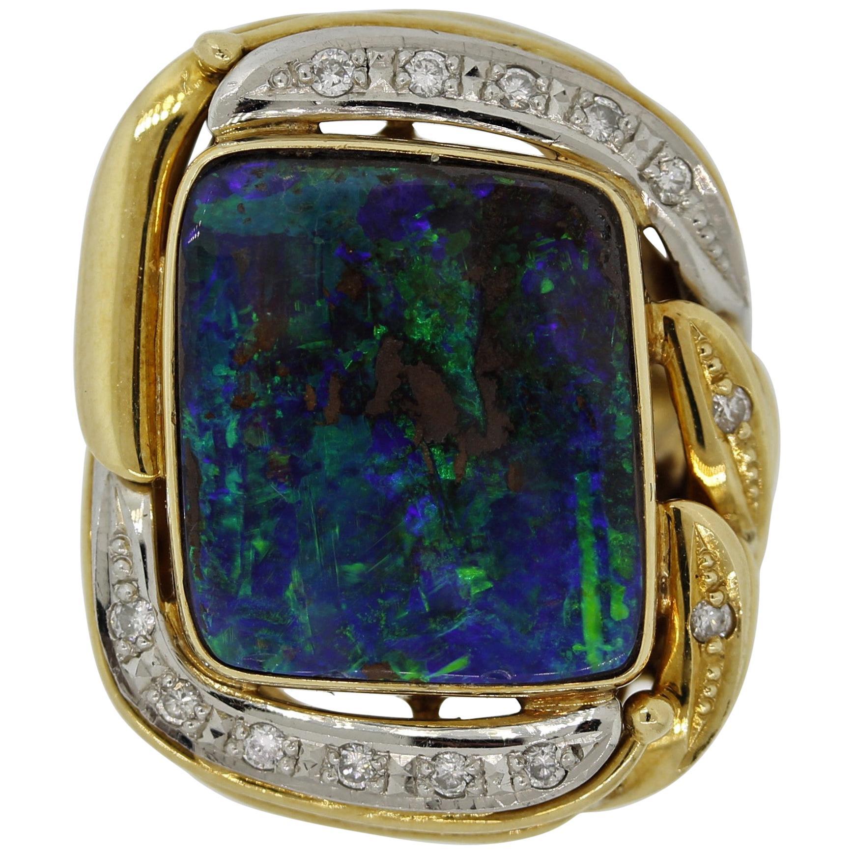 Australian Boulder Opal Diamond Platinum Gold Ring