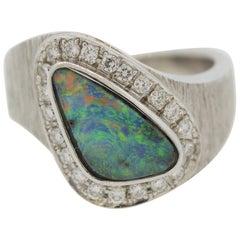 Australian Boulder Opal Diamond Platinum Ring