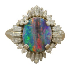 Australian Boulder Opal Diamond Platinum Ring