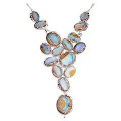 Australian Boulder Opal Necklace in Sterling Silver