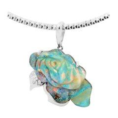 Australian Boulder Opal Pendant in 18 Karat White Gold