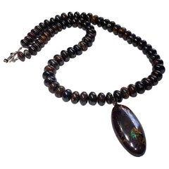 Australian Boulder Opal Pendant and Necklace with a Silver Clasp
