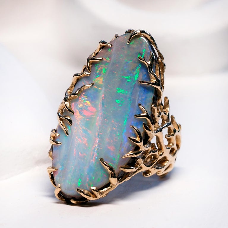 Boulder Opal Ring Gold Statement Art Nouveau Jewelry Mens Unisex Christmas gift For Sale 1