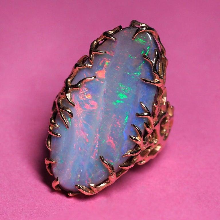 Cabochon Boulder Opal Ring Gold Statement Art Nouveau Jewelry Mens Unisex Christmas gift For Sale