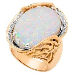 Australian Boulder Opal Ring in 18 Karat Yellow Gold