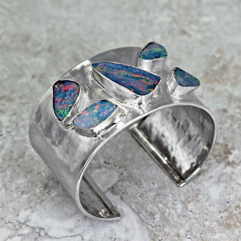 Cabochon Australian Boulder Opal Sterling Silver Statement Cuff Bracelet For Sale