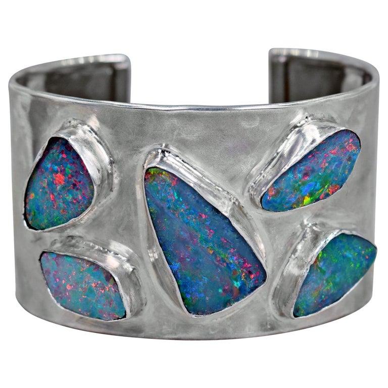 Australian Boulder Opal Sterling Silver Statement Cuff Bracelet For Sale