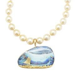 Australian Boulder Opal Wave, Sea & Sky Pendant w/ 18kt Gold Catboat