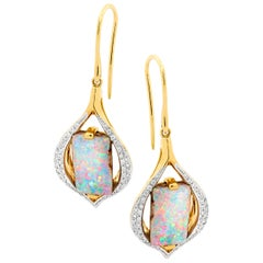 Opal Jewellery Set: Boulder Opal Dangle Earrings and Necklace 18K Yellow Gold
