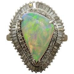 Australian Crystal Opal Diamond Platinum Ring
