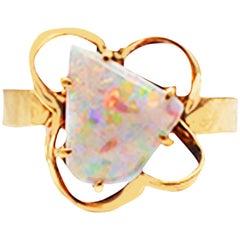 Australian Fire Opal Ring Organic Artisan 5 Carat Gemstone
