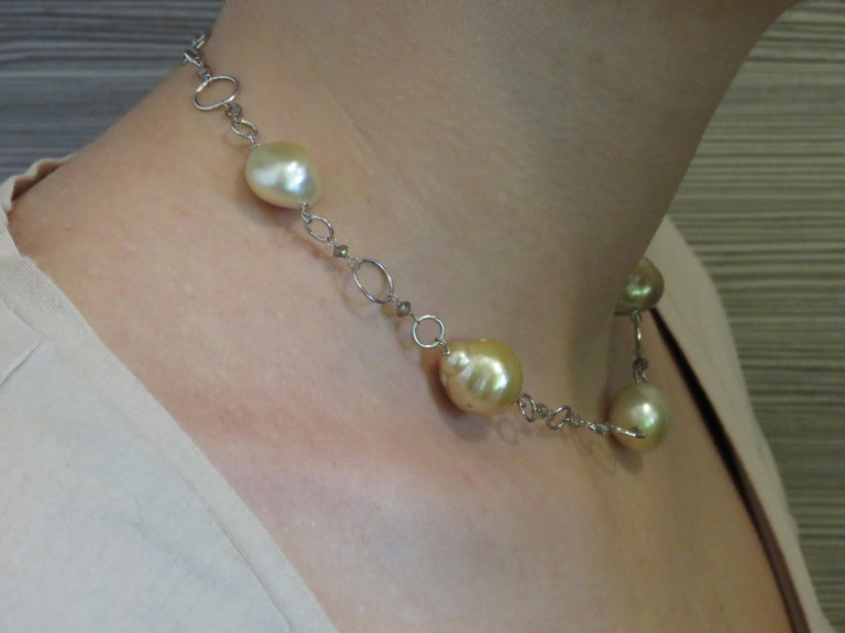 Contemporary Australian Gold Pearls Brown Diamonds White Gold Necklace Handcrafted in Italy For Sale