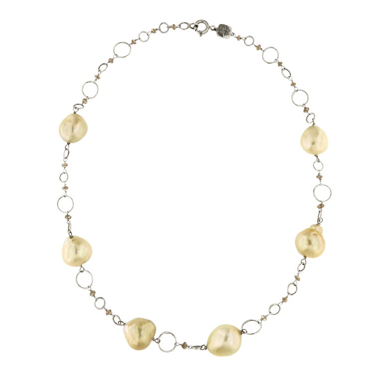 Australian Gold Pearls Brown Diamonds White Gold Necklace Handcrafted in Italy For Sale