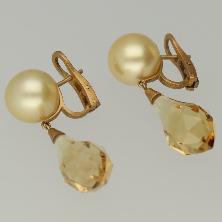 d47138f96fd5d Australian Golden Cream South Sea Pearls Briolette Citrine Drop Earrings