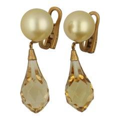 Australian Golden Cream South Sea Pearls Briolette Citrine Drop Earrings