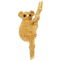 Australian Koala Bear Designer J Cooper Gold Brooch Pin Fine Estate Jewelry
