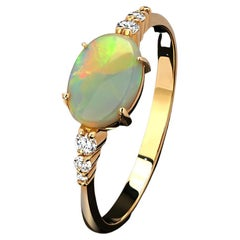 Australian Opal 14K Yellow Gold Ring Iridescent Neon Green Cabochon Engagement