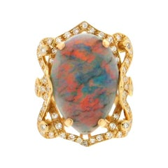 Australian Opal 18 Karat Yellow Gold Diamonds Cocktail Ring