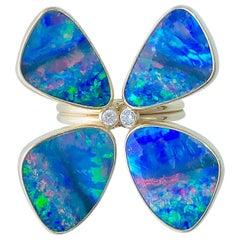 Australian Opal and Diamond Butterfly Ring