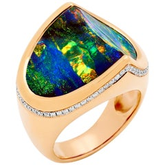 Australian Opal and Diamond Cocktail Ring in 18 Karat Rose Gold