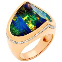 Australian Opal and Diamond Cocktail Ring in 18 Karat Rose Gold