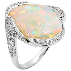 Australian Opal and Diamond Cocktail Ring in 18 Karat White Gold