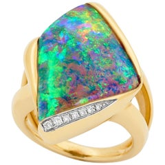 Australian Opal and Diamond Cocktail Ring in 18 Karat Yellow Gold