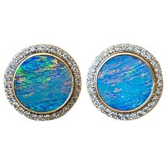 Australian Opal and Diamond Cufflinks Set in 14 Karat Gold