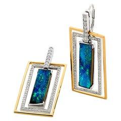 Australian 18.73ct Boulder Opal and Diamond Drop Earrings 18K White, Rose Gold