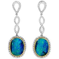 Australian 21.28ct Precious Opals, Diamonds Drop Earrings 18K White, Yellow Gold