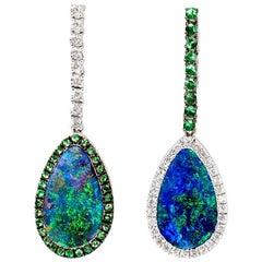 Australian Opal and Diamond Drop Earrings in 18 Karat White Gold with Tsavorites