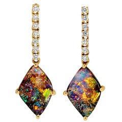 Australian 4.26ct Boulder Opal and Diamond Drop Earrings in 18K Yellow Gold