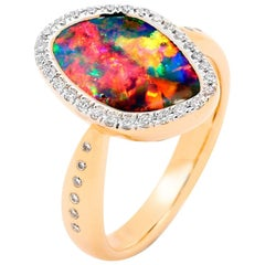 Australian Opal and Diamond Engagement Ring in 18 Karat Rose Gold