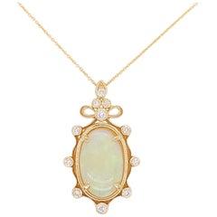 Australian Opal and Diamond Pendant and Chain 3 Carat Opal 14 Karat Yellow Gold