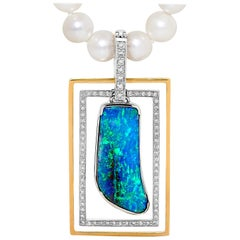 Opal Minded Australian Boulder Opal and Diamond Pendant in 18K White, Rose Gold