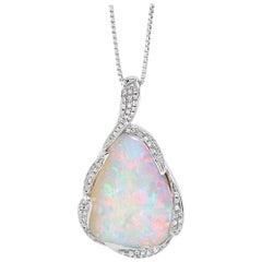 Australian 13.62ct Boulder Opal and Diamond Pendant in 18K White Gold