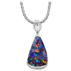 Australian Opal and Diamond Pendant in 18 Karat White Gold